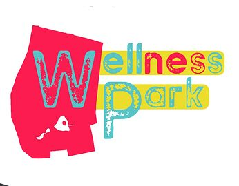 A Pink logo, showing the outline of wells park, with superimposed text in blue, reading 'Wellness Park'.