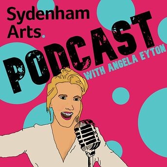 Charicature of host Angela Eyton stood in front of a microphone, on a bright blue and Pink background, with the words 'Podcast with Angela Eyton'