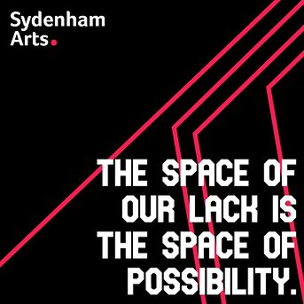 The text 'The space of our lack is the space of possibility' in white, on a black background with vibrant pink streaks.