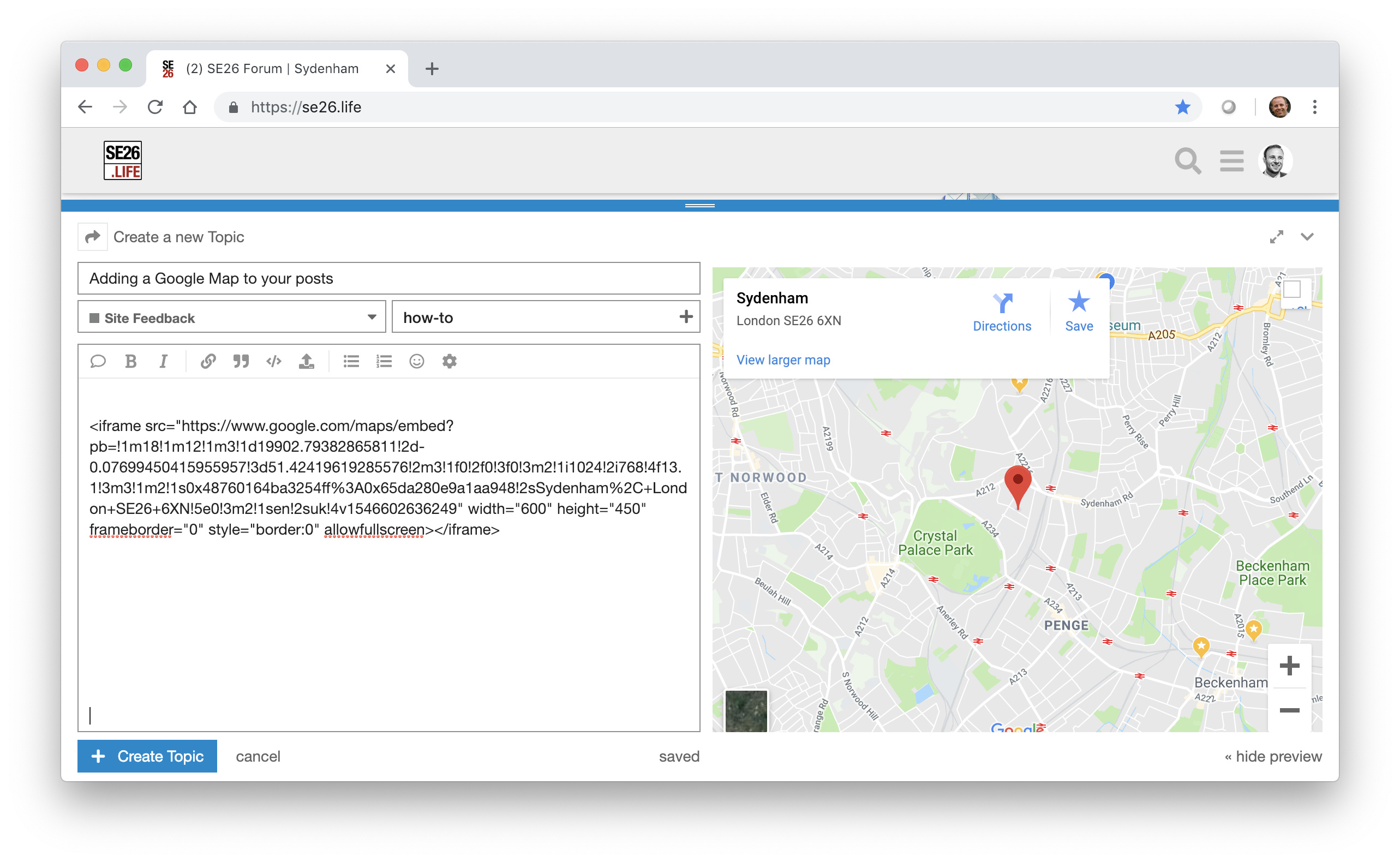 Adding a Google Map to your posts - Site Feedback - SE26 Forum
